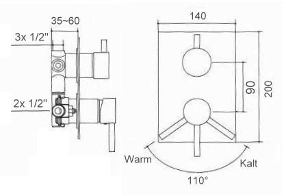welfenstein unterputz armatur 3 wege wannenset 8w komplett set regenbrause 20cm ebay. Black Bedroom Furniture Sets. Home Design Ideas